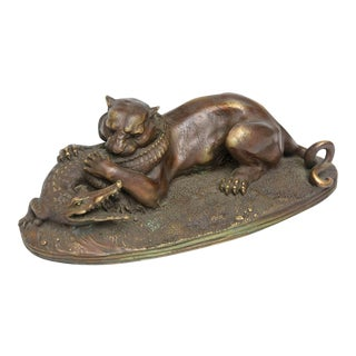 French Patinated Bronze Cougar and Crocodile, 19th Century by Jules Moigniez For Sale