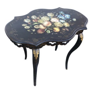 French Hand Painted End Occasional Table For Sale