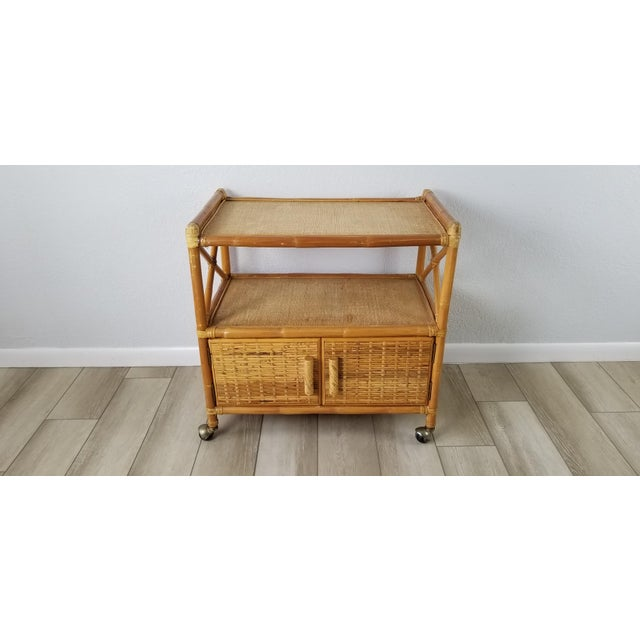 Vintage Two Tier Rolling Bar Cart For Sale - Image 10 of 10