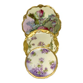 Vintage Shabby Chic 3 Single Dinnerware Plates For Sale