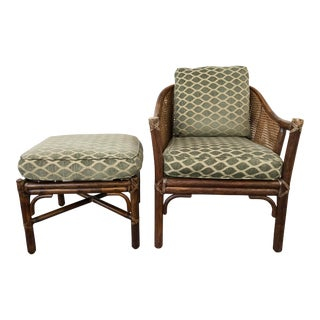 McGuire Bamboo Lounge Chair With Ottoman For Sale
