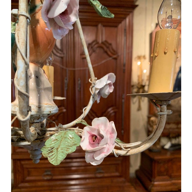 Green French Painted Chandelier With Porcelain Bird and Flowers For Sale - Image 8 of 10