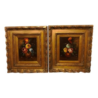 Vintage Floral Still Life Oil Painting in Gold Frames – a Pair For Sale