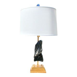 Modern Blue Sapphire Glass Rock Lamp For Sale