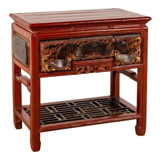 Chinese Red Lacquered Console Table with Hand Carved Drawers and Geometric Shelf For Sale