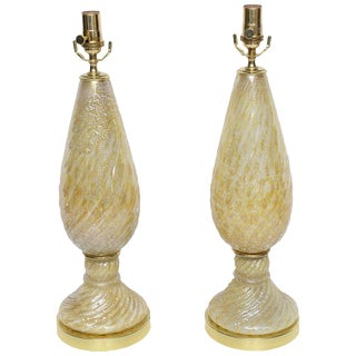 Barovier and Toso Yellow Murano Glass Lamps With Silver Inclusions - a Pair For Sale