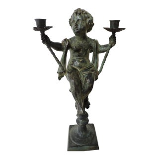 Bronze Cupid Candle Holder For Sale