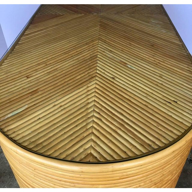 Paul Frankl Style Mid-Century Modern Sculptural Oval Reed Bamboo Desk Console For Sale In Philadelphia - Image 6 of 10