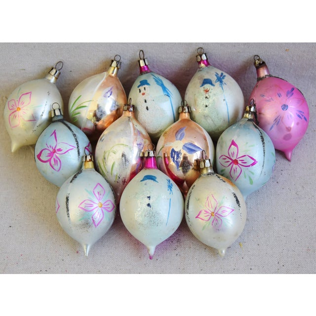 blue 1950s christmas ornaments wbox set of 12 for sale image 8