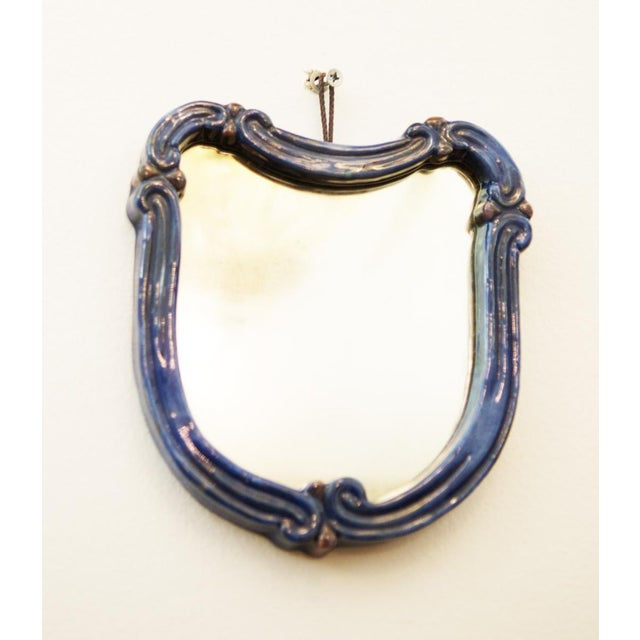 Ceramic Blue Art Deco wall mirror with ceramic by Gmundner Keramik For Sale - Image 7 of 7