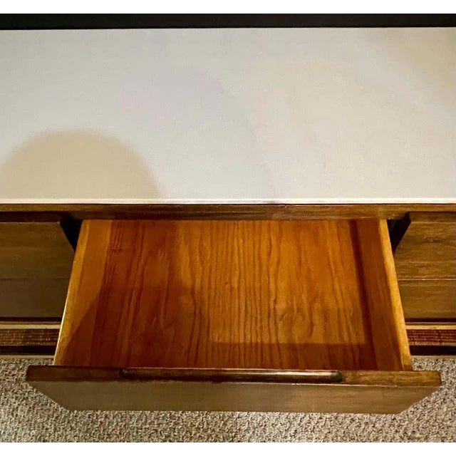 Brass Mid-Century Modern McCobb Cabinet With Glass Top Brass Frame and Caning For Sale - Image 8 of 13