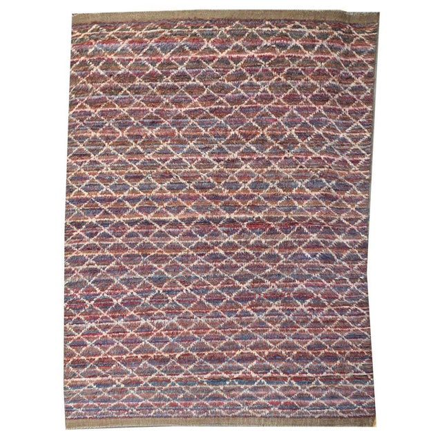 Contemporary Moroccan Style Contemporary Multicolor and White Diamond Striped Shag Rug - 7′9″ × 11′8″ For Sale - Image 3 of 3