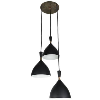 1950s Birger Dahl Three-Cone Cascading Chandelier for Sonnico For Sale