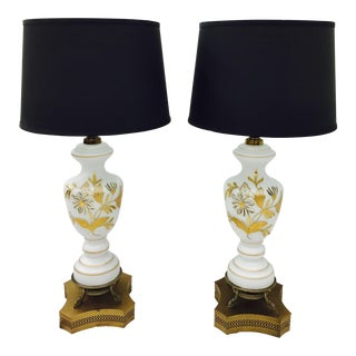 Antique Gilt Glass Lamps - A Pair