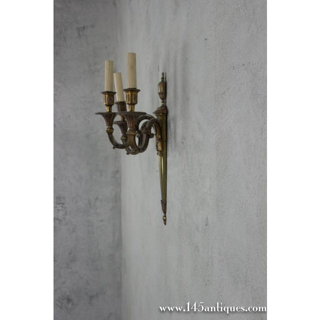 Pair of Three-Arm Gilt Bronze Sconces For Sale - Image 4 of 11