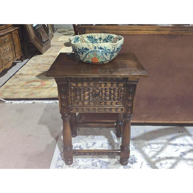 Hand Carved Wooden Vanity & Hand Painted Sink For Sale - Image 12 of 12