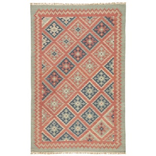 Jaipur Living Ottoman Handmade Geometric Red/ Blue Area Rug - 2′ × 3′ For Sale