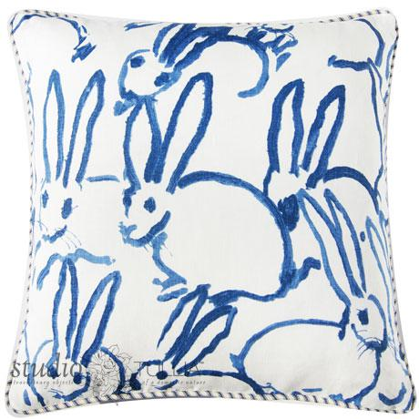 Bunny Fabric - Hutch Print Navy - Hunt Slonem - Lee Jofa - Groundworks **This listing does NOT Include the insert.** This...