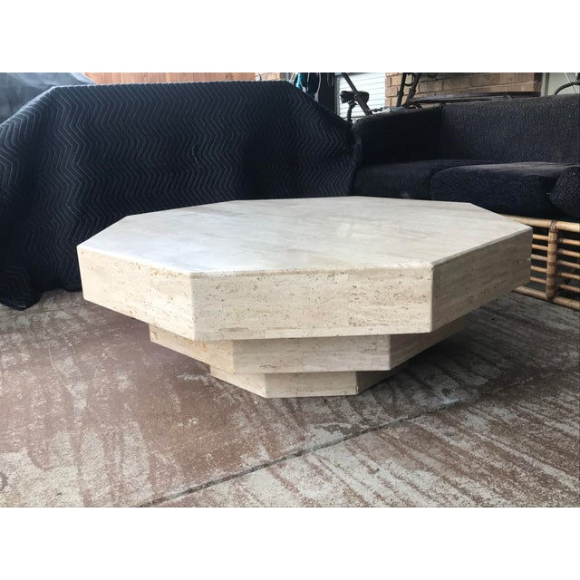 Octagonal Stacked Travertine Coffee Table For Sale - Image 12 of 12