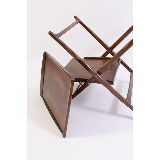 Danish Folding Walnut Bar Cart With Serving Tray - Image 8 of 11