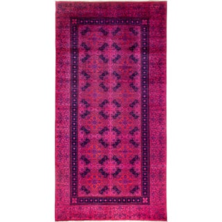 "Vibrance Over Dyed Hand Knotted Area Rug - 6'2"" X 12'1"" For Sale"