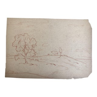 1930s Vintage Eliot Clark Impressionist Inspired Plein Air Landscape Drawing For Sale