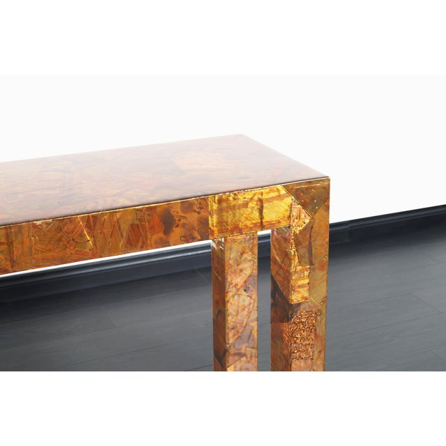 Mid-Century Modern 1970s Brutalist Copper Patchwork Console Table For Sale - Image 3 of 11