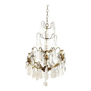 Vintage Brass & Glass 6 Light Chandelier For Sale