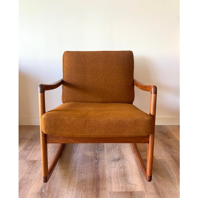 Fully restored Danish Mid-Century rocker / arm chair. Ole Wanscher for France and Sons. Circa 1960. Original upholstery in...