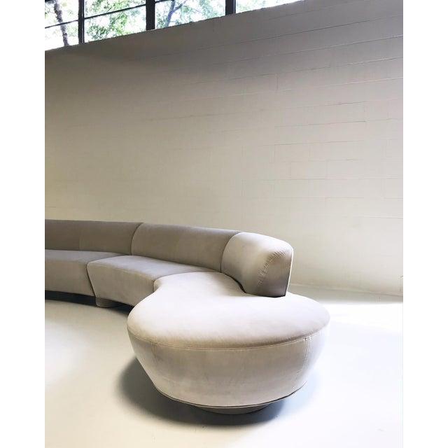 Textile Vintage Vladimir Kagan for Directional Cloud Sofa Restored in Loro Piana Grey Velvet For Sale - Image 7 of 10