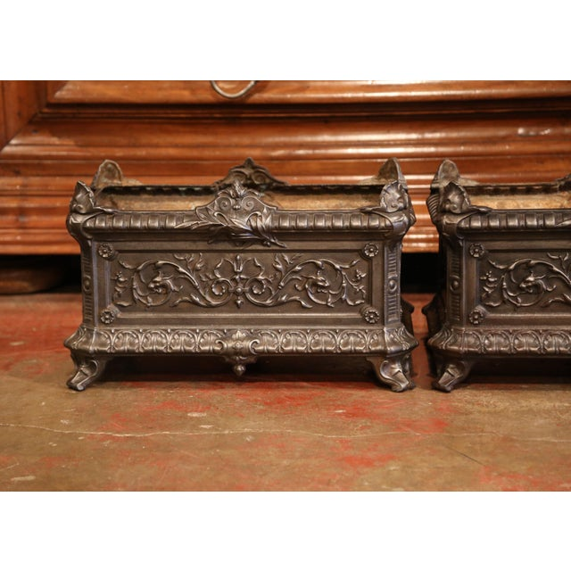 19th Century French Polished Iron Outdoor Jardinières With Raised Decors - a Pair For Sale - Image 4 of 11