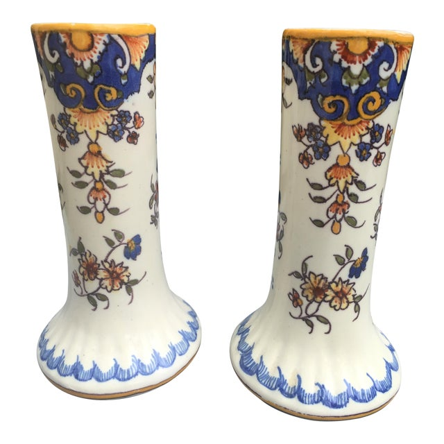 Antique French Faience Rouen Vases - A Pair For Sale