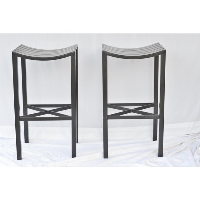 A Pair of Charleston Forged Iron Parsons Stools - Image 9 of 10