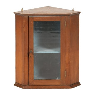 19th-Century Pine Hanging Corner Cupboard For Sale