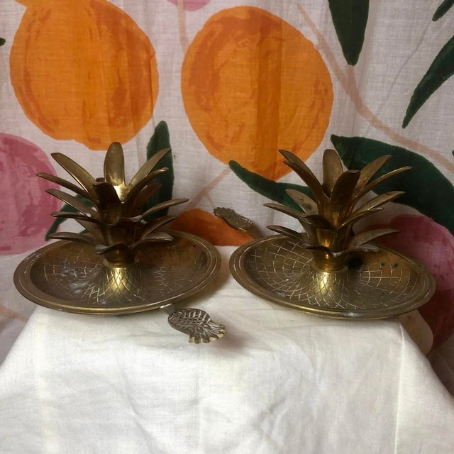 Vintage Brass Pineapple Candle Holders - Set of 2 For Sale - Image 4 of 4
