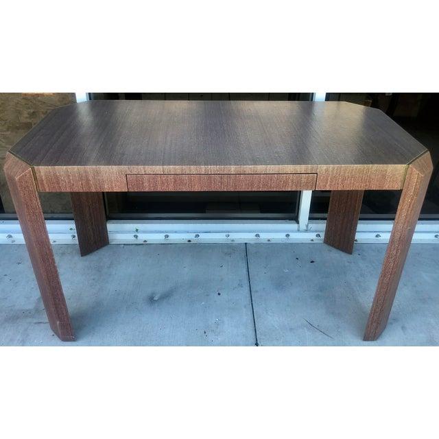 Gold Linen Covered & Brass Details Desk For Sale - Image 8 of 8