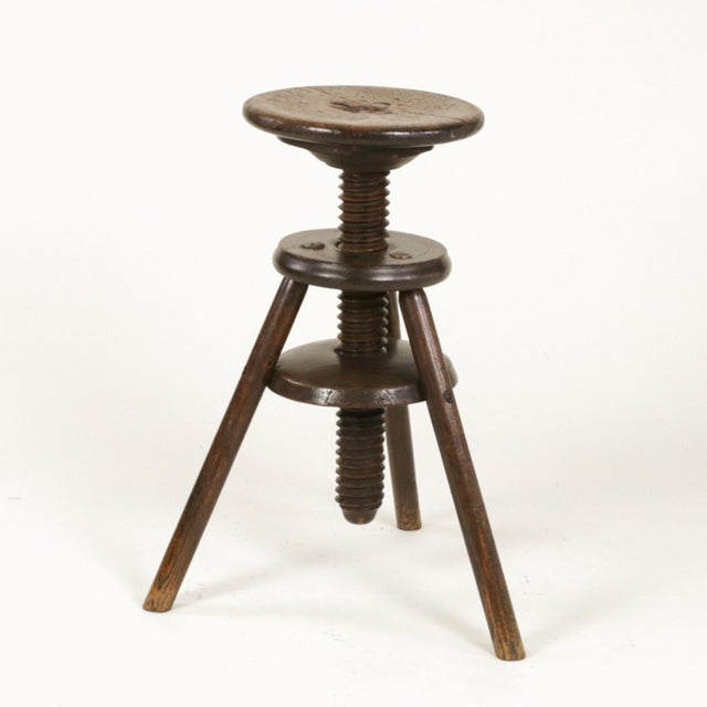 1870s English Oak Three Legged Adjustable Artist Stool For Sale In San Francisco - Image 6 of 12