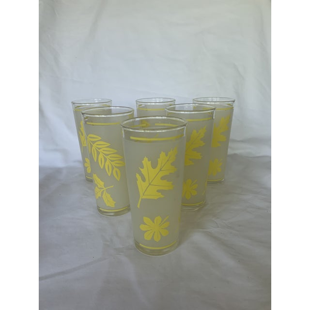 Mid-Century Modern Vintage Libbey Yellow Frosted Tumbler Glasses- Set of 6 For Sale - Image 3 of 6