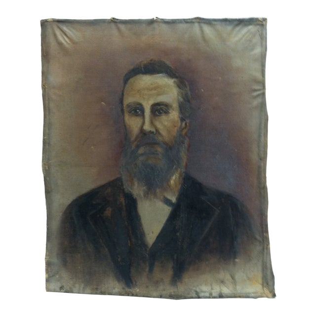 "1920s Vintage ""Bearded Man"" Original Painting on Canvas For Sale"