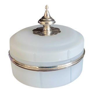 Antique Opaline Box With Silver Finial For Sale