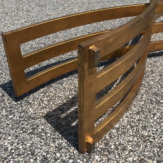 Metal Vintage Hollywood Regency Gilt Slatted Steel Sculptural X Base Glass Top Coffee Table For Sale - Image 7 of 13
