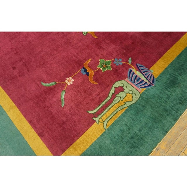 """1920s Chinese Art Deco Pink Rug - 8'9""""x11'4"""" For Sale - Image 5 of 8"""