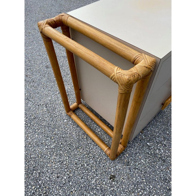 1970s Mid-Century Modern Rattan and Laminate Chests - a Pair For Sale In West Palm - Image 6 of 9