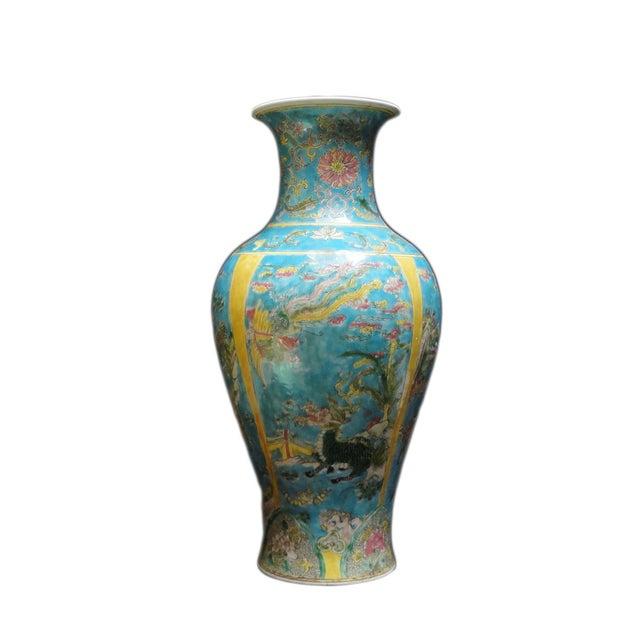 Chinese Porcelain Blue Base Animals Decor Vase For Sale