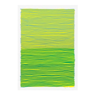 Contemporary Green & Yellow Geometric Painting For Sale