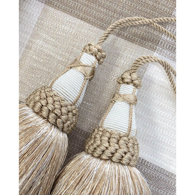 Tan and White Key Tassels With Looped Ruche Trim - a Pair For Sale In New York - Image 6 of 10