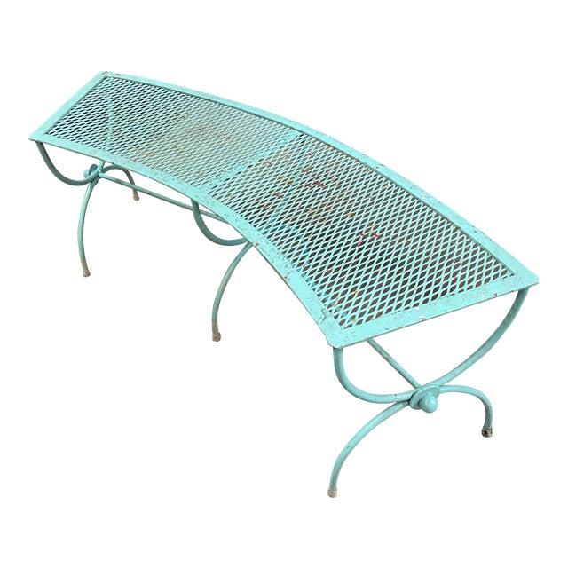 Mid-Century Modern Salterini Style Curved Iron Garden Bench For Sale
