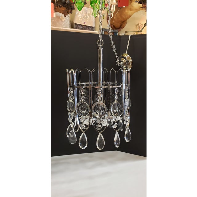 Transparent Gaetano Sciolari Chrome and Crystal Chandilier For Sale - Image 8 of 12