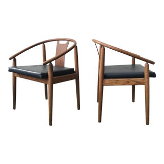 Teak Nakashima Style Horseshoe Chairs - A Pair
