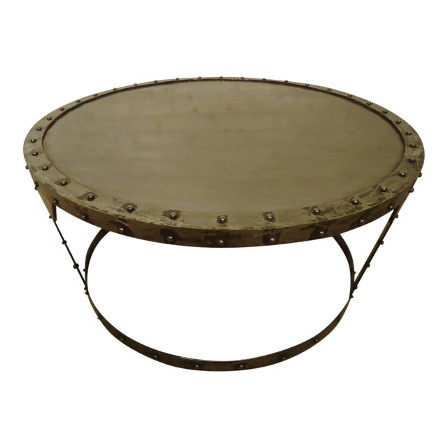 Unique Riveted Industrial Style Coffee Table For Sale